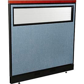"Deluxe Office Partition Panel with Partial Window & Raceway, 48-1/4""W x 47-1/2""H, Blue"