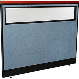 """Deluxe Office Partition Panel with Partial Window & Raceway, 60-1/4""""W x 47-1/2""""H, Blue"""