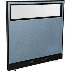 "Electric Office Partition Panel with Partial Window, 48-1/4""W x 46""H, Blue"