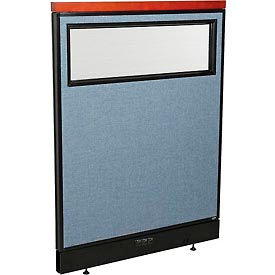 """Deluxe Electric Office Partition Panel with Partial Window, 36-1/4""""W x 47-1/2""""H, Blue"""