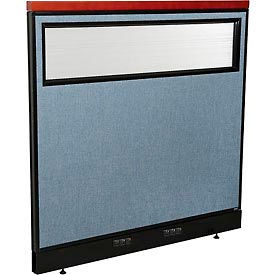 "Deluxe Electric Office Partition Panel with Partial Window, 48-1/4""W x 47-1/2""H, Blue"