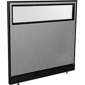 "Office Partition Panel with Partial Window & Pass-Thru Cable, 48-1/4""W x 46""H, Gray"