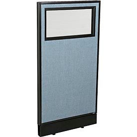 """Office Partition Panel with Partial Window & Pass-Thru Cable, 24-1/4""""W x 46""""H, Blue"""