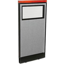 """Deluxe Office Partition Panel with Partial Window & Pass-Thru Cable, 24-1/4""""W x 47-1/2""""H, Gray"""