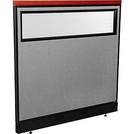 "Deluxe Office Partition Panel with Partial Window & Pass-Thru Cable, 48-1/4""W x 47-1/2""H, Gray"