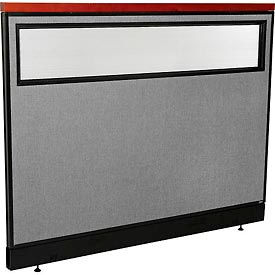 """Deluxe Office Partition Panel with Partial Window & Pass-Thru Cable, 60-1/4""""W x 47-1/2""""H, Gray"""