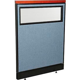 """Deluxe Office Partition Panel with Partial Window & Pass-Thru Cable, 36-1/4""""W x 47-1/2""""H, Blue"""