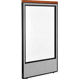 "Deluxe Office Partition Panel with Full Window, 36-1/4""W x 61-1/2""H, Gray"