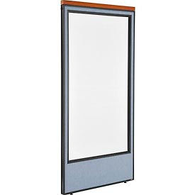 """Deluxe Office Partition Panel with Full Window, 36-1/4""""W x 73-1/2""""H, Blue"""