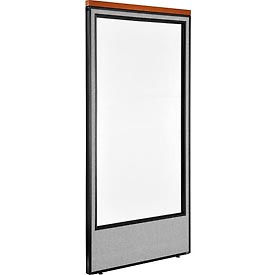 "Deluxe Office Partition Panel with Full Window, 36-1/4""W x 73-1/2""H, Gray"