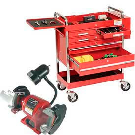Sunex Tools 8045 Professional 5 Drawer Red Tool Cart W/ Locking Top & FREE Bench...