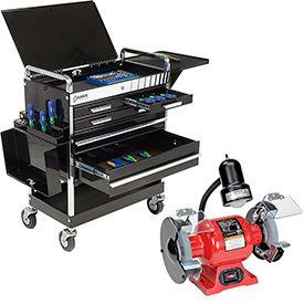 Sunex Tools 8045BK Professional 5 Drawer Black Tool Cart W/ Locking Top & FREE Bench Grinder