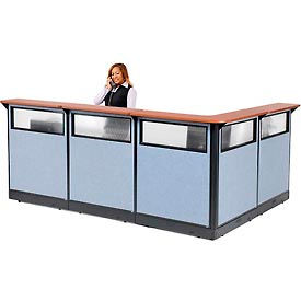 """L-Shaped Reception Station with Window & Raceway, 116""""W x 80""""D x 46""""H, Cherry Counter, Blue"""