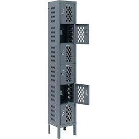 Infinity™ Heavy Duty Ventilated Steel Locker, Six Tier, 1-Wide, 12x12x12, Unassembled, Gray