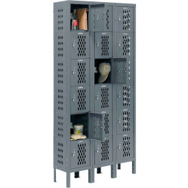 Infinity™ Heavy Duty Ventilated Steel Locker, Six Tier, 3-Wide, 12x18x12, Unassembled, Gray