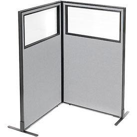 Interion Freestanding 2-Panel Corner Room Divider w/Partial Window 36-1/4