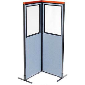 """Deluxe Freestanding 2-Panel Corner Divider with Partial Window, 24-1/4""""W x 73-1/2""""H, Blue"""