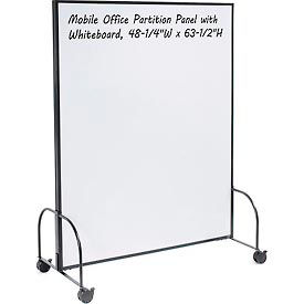 "Mobile Office Partition Panel with 2-Sided Whiteboard, 48-1/4""W x 63-1/2""H"