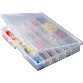 """Plano StowAway 24 Fixed Compartment Box, 14-1/4""""W x 2-1/4""""D x 11-1/2""""H, Clear"""