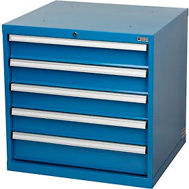 "Global™ Modular Drawer Cabinet, 5 Drawers, w/Lock, w/o Dividers, 30""Wx27""Dx29-1/2""H Blue"