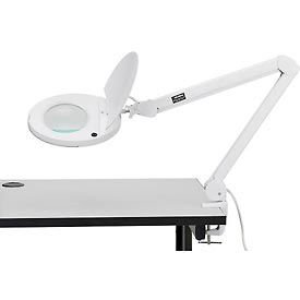5 Diopter LED Magnifying Lamp With Covered Metal Arm, White