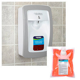 Global Industrial™ Hand Soap Starter Kit W/ Automatic Dispenser - White/Gray