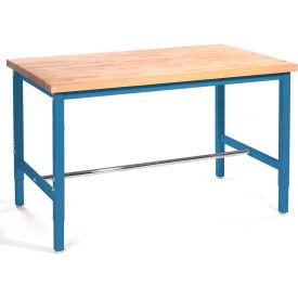 "96""W x 36""D Production Workbench - Birch Butcher Block Square Edge - Blue"