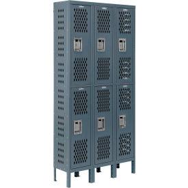 Infinity™ Heavy Duty Ventilated Steel Locker, Double Tier, 3-Wide, 12x12x36, Assembled, Gray
