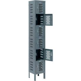 Infinity™ Heavy Duty Ventilated Steel Locker, Six Tier, 1-Wide, 12x15x12, Assembled, Gray