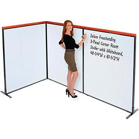 """Deluxe Freestanding 3-Panel Corner Room Divider with Whiteboard, 48-1/4""""W x 61-1/2""""H"""