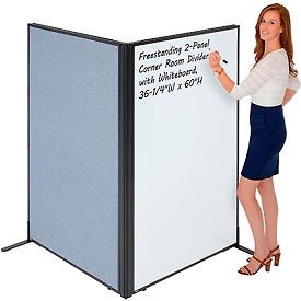 """Freestanding 2-Panel Corner Room Divider with Whiteboard, 36-1/4""""W x 60""""H, Blue"""