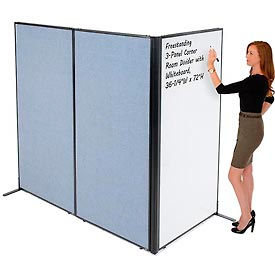 "Freestanding 3-Panel Corner Room Divider with Whiteboard, 36-1/4""W x 72""H, Blue"