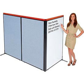 "Deluxe Freestanding 3-Panel Corner Room Divider with Whiteboard, 36-1/4""W x 61-1/2""H, Blue"