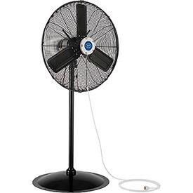 Outdoor Misting Oscillating Pedestal Fan, 24 Inch Diameter, 3/10 HP, 7700 CFM