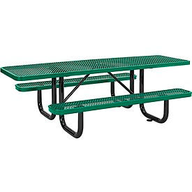 8 ft. ADA Outdoor Steel Picnic Table - Expanded Metal - Green