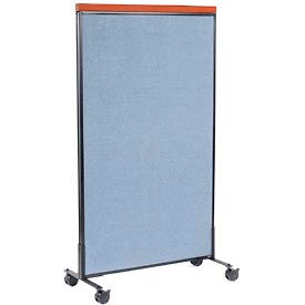 """Mobile Deluxe Office Partition Panel, 36-1/4""""W x 64-1/2""""H, Blue"""