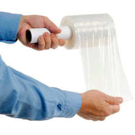 """Stretch Wrap Film With Extended Core Handle 5"""" x 1000' x 80 Gauge Clear - Pkg Qty 12"""