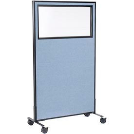 """Mobile Office Partition Panel with Partial Window, 36-1/4""""W x 63""""H, Blue"""