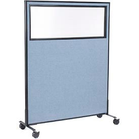"Mobile Office Partition Panel with Partial Window, 48-1/4""W x 63""H, Blue"