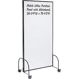 """Mobile Office Partition Panel with Whiteboard, 36-1/4""""W x 75-1/2""""H"""