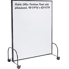 """Mobile Office Partition Panel with Whiteboard, 48-1/4""""W x 63-1/2""""H"""