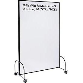 "Mobile Office Partition Panel with Whiteboard, 48-1/4""W x 75-1/2""H"