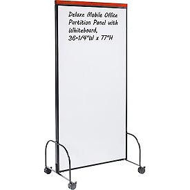 """Deluxe Mobile Office Partition Panel with Double-sided Whiteboard, 36-1/4""""W x 77""""H"""