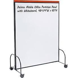 """Deluxe Mobile Office Partition Panel with Double-sided Whiteboard, 48-1/4""""W x 65""""H"""
