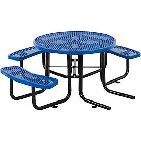 "46"" Wheelchair Accessible Round Outdoor Steel Picnic Table - Expanded Metal - Blue"