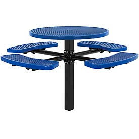 """46"""" Round In-Ground Mount Outdoor Steel Picnic Table - Expanded Metal - Blue"""