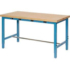 "72""W x 30""D Production Workbench with Power Apron - Birch Butcher Block Square Edge - Blue"