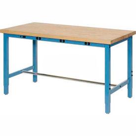"96""W x 30""D Production Workbench with Power Apron - Birch Butcher Block Square Edge - Blue"