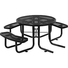 """46"""" Wheelchair Accessible Round Expanded Metal Picnic Table, Black"""