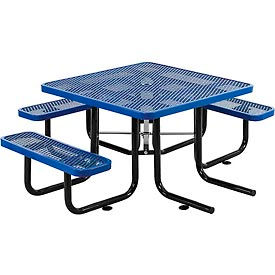 "46"" Wheelchair Accessible Square Outdoor Steel Picnic Table - Expanded Metal - Blue"